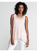 Scoop Neck SleevelessTunic in Variegated Linen Silk