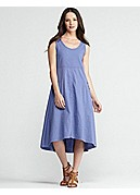 U-Neck Calf-Length Dress in Linen Viscose Stretch