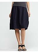 Knee-Length Lantern Skirt in Linen Viscose Stretch