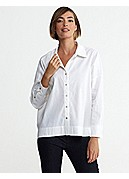 Classic Collar Shirt in Linen Viscose Stretch