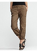 Petite Cropped Cargo in Washed Cotton Tencel Twill