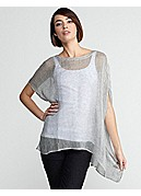 Plus Size Ballet Neck Boxy Tunic in Woven Linen Mesh