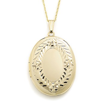 Item# 023432, Locket, Necklaces, Jewelry: 14kt Yellow Gold Large Oval Engraved Locket With Chain. 18