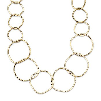 Ross-Simons - 14kt Yellow Gold Hammered Circle Necklace