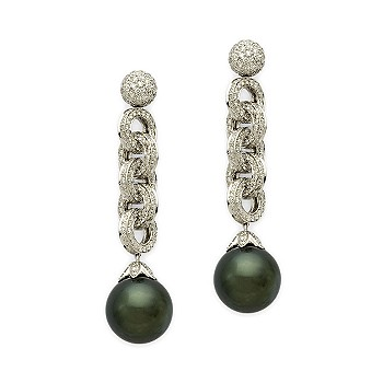 #186765: Black South Sea Cultured Pearl and Diamond Drop Earrings In 18kt White Gold: Diamond Jewelry, Diamond Engagement Rings, Gold, Pearl and Estate Jewelry at Ross-Simons