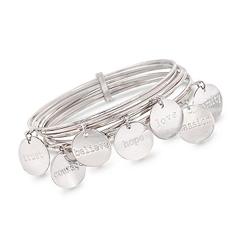 Ross-Simons - Set of 7 Word Charm Bangle Bracelets In Sterling Silver - CHARM BRACELET :  ross bracelets simons sterling