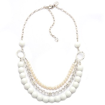 #200825: 3-Strand 5mm Cultured Pearl and Rock Crystal With Shells Necklace In Sterling Silver 16