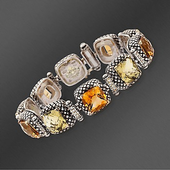 Ross-Simons - Andrea Candela 18kt Gold and Textured Sterling Multi-Gem .40 ct. t.w. Diamond Bracelet. 7