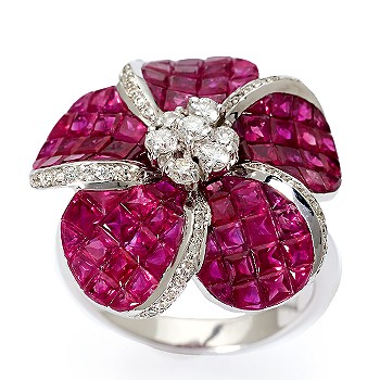 Ruby and Diamond Accent Flower Ring