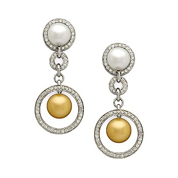 Ross-Simons - 2.47 ct. t.w. Diamond and 11mm Cultured Pearl and Diamond Circle Post Earrings - Jewelry, Earrings, Drop , Diamond