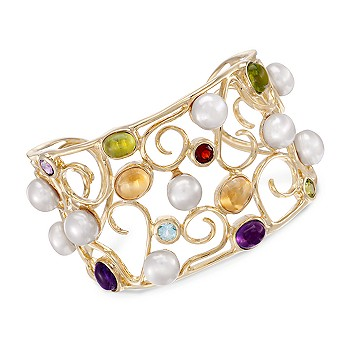 #221161: 9mm Cultured Pearl and Multi-Gem Cuff Bracelet: Diamond Jewelry, Diamond Engagement Rings, Gold, Pearl and Estate Jewelry at Ross-Simons