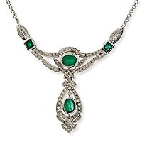 C. 1980 5.00 ct. t.w. Emerald and Diamond Drop Necklace. 17