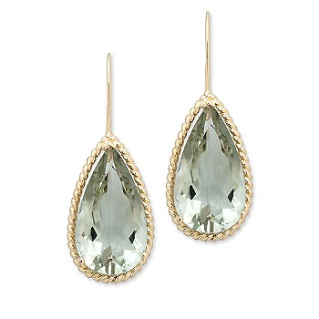 Ross-Simons - 21.00 ct. t.w. Green Amethyst Earrings In 14kt Yellow Gold