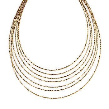 Ross-Simons - 14kt Yellow Gold 7-Strand Twisted Bib Necklace :  ross necklace twisted gold