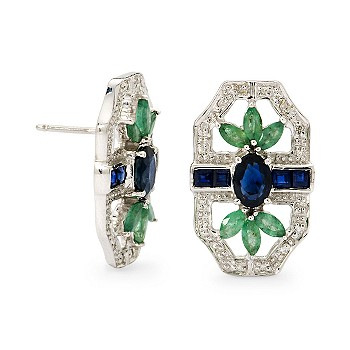 #238684: 1.85 ct. t.w. Sapphire and .95 ct. t.w. Emerald Earrings In Sterling Silver: Diamond Jewelry, Diamond Engagement Rings, Gold, Pearl and Estate Jewelry at Ross-Simons