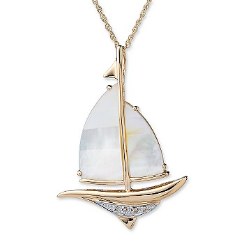 Ross-Simons - Mother-Of-Pearl and Diamond Accent Sailboat Necklace In 14kt Yellow Gold