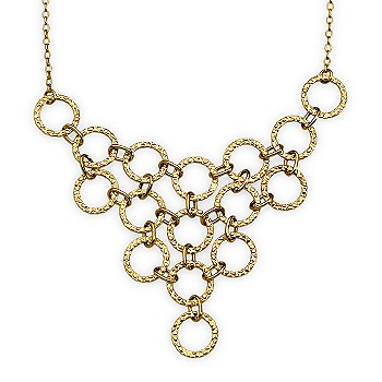 Ross-Simons - Interlocking Circle Bib-Style Necklace In 14kt Yellow Gold
