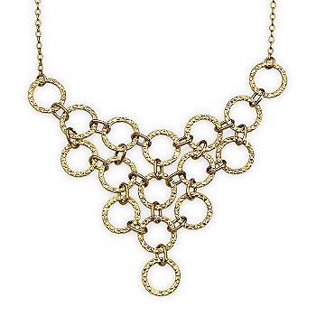 Ross-Simons - Interlocking Circle Bib-Style Necklace In 14kt Yellow Gold