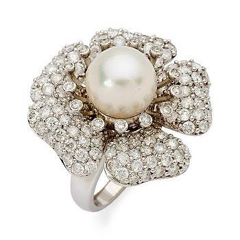 #253882: 10mm South Sea Pearl and 3.25 ct. t.w. Diamond Floral Ring 14kt White Gold: Diamond Jewelry, Diamond Engagement Rings, Gold, Pearl and Estate Jewelry at Ross-Simons :  diamond rose 14k white gold 14kt