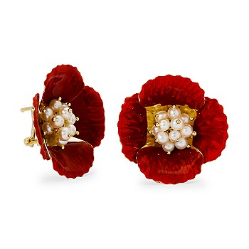 #265218: Italian Enamel and 2.5-3.5mm Cultured Pearl Poppy Earrings In 18kt Yellow Gold: Diamond Jewelry, Diamond Engagement Rings, Gold, Pearl and Estate Jewelry at Ross-Simons :  cultured freshwater pearls yellow gold 18kt poppy