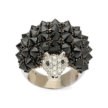 #265658: 19.00 ct. t.w. Black and .25 ct. t.w. White CZ Hedgehog Ring In Sterling Silver: Diamond Jewelry, Diamond Engagement Rings, Gold, Pearl and Estate Jewelry at Ross-Simons