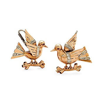 Ross-Simons - C. 1940 Diamond and Faux Ruby Bird Earrings In 14kt Rose Gold