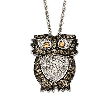 #273303: Chocolate and White Diamond Owl With Yellow Sapphire Eyes Necklace In 14kt White Gold: Diamond Jewelry, Diamond Engagement Rings, Gold, Pearl and Estate Jewelry at Ross-Simons