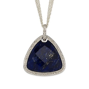 #274092: Lapis and Diamond Accent Necklace In Sterling Silver: Diamond Jewelry, Diamond Engagement Rings, Gold, Pearl and Estate Jewelry at Ross-Simons