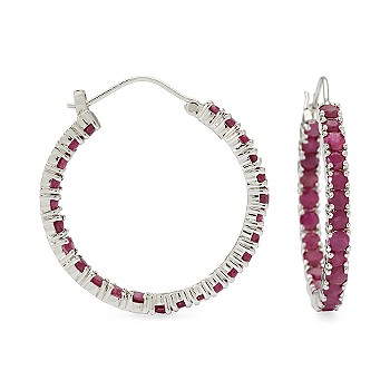 Ruby In-And-Out Hoop Earrings In Sterling Silver