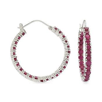 Ruby In-And-Out Hoop Earrings In Sterling Silver