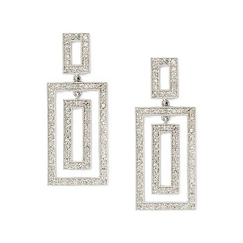 #276173: .65 ct. t.w. Diamond Rectangle Drop Earrings In 14kt White Gold: Diamond Jewelry, Diamond Engagement Rings, Gold, Pearl and Estate Jewelry at Ross-Simons :  vintage modern jewelry