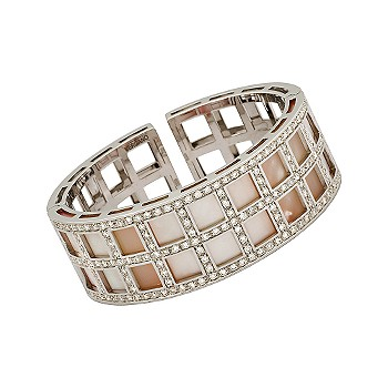 #276296: C. 1980 Vintage Vergano 4.95 ct. t.w. Diamond and Mother-Of-Pearl Cuff Bracelet In 18kt White Gold 6.5