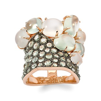 Ross-Simons - Green Sapphire, Prehnite, and Moonstone Ring In 18kt Rose Gold - Jewelry, Rings, Clearance