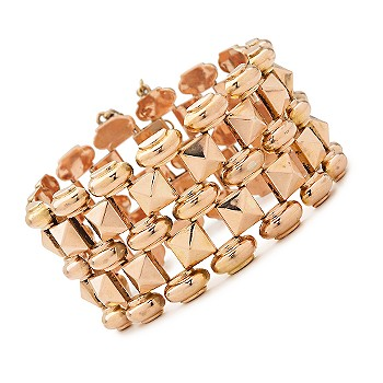 #297912: C. 1940 Vintage 18kt Yellow Gold Wide Geometric Row Bracelet 7.5