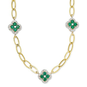 Ross-Simons - 4.00 ct. t.w. Emerald Clover Necklace With Diamonds on 14kt Yellow Gold - %23411982