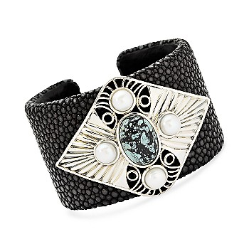 Ross-Simons - Stingray Cuff Bracelet With Turquoise and Cultured Pearl In Sterling Silver . 7