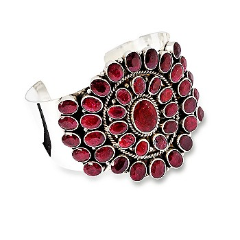 Ross-Simons - 61.15 ct. t.w. Ruby Cuff Bracelet :  gemstones bracelets ruby jewelry