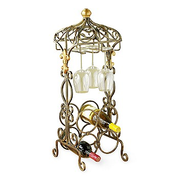 Ross-Simons - 4-Bottle Iron and Brass Wine Rack - Gifts, Clearance from ross-simons.com