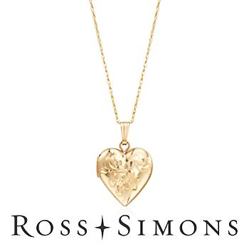 Child's Gold Heart Locket Pendant, Floral Engraving. 15""