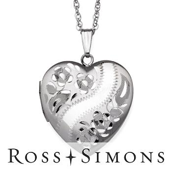 Sterling Silver Diamond-Cut Heart Locket Necklace.