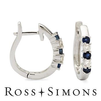 .20 ct. t.w. Sapphire and Diamond Hoop Earrings in 14kt White Gold