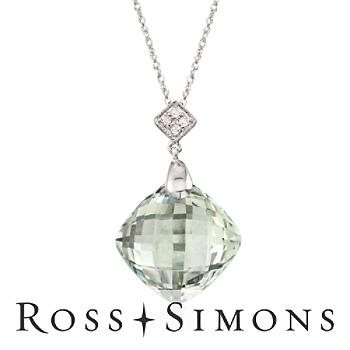 """8.00 Carat Green Amethyst Drop Pendant Necklace with Diamond Accents in 14kt White Gold. 18"""""""