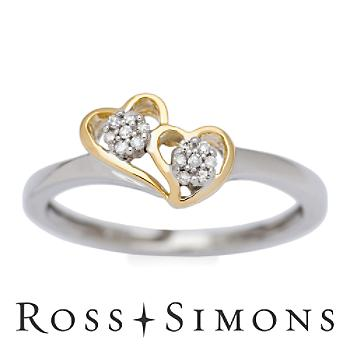 Diamond Accent Heart Ring in 14kt Two Tone Gold