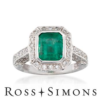 2.16ct Emerald, .95ct t.w. Diamond Ring in 14kt White Gold. Size 6.5