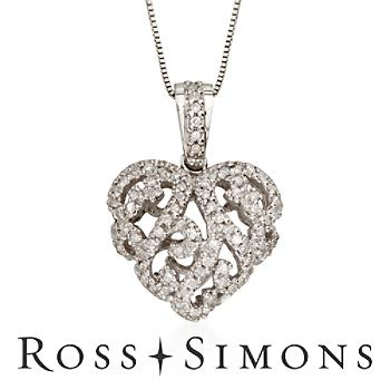 .24 ct. t.w. Diamond Heart Necklace In 14kt White Gold. 18