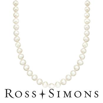 6.5-7mm Cultured Pearl Necklace in 14kt Yellow Gold. 18""