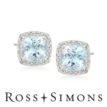 2.60 ct. t.w. Aquamarine Earrings With Diamonds in 14kt White Gold