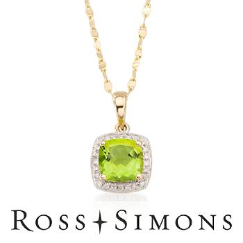 1.50ct Peridot Necklace, Diamond Accents In 14kt Yellow Gold. 18""