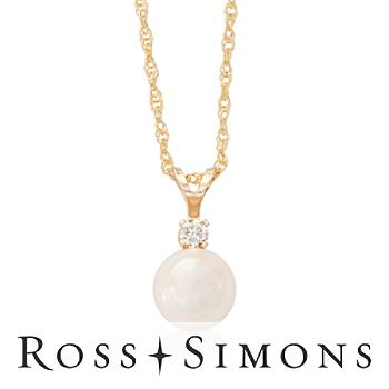 6-6.5mm Akoya Pearl Necklace, Diamond Accent in Gold. 18""