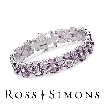 17.50ct t.w. Amethyst Bracelet, Diamond Accents In Silver february birthstone bracelets